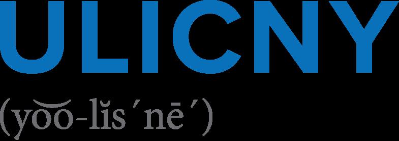 Blue Ulicny logo with grey phonetic pronunciation below